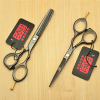 5 5 16cm Japan Kasho 440C Black Colour Professional Human Hair Scissors Hairdressing Cutting Shears Thinning