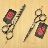 5 5 16cm Japan Kasho 440C Black Colour Professional Human Hair Scissors Hairdressing Cutting Shears Thinning
