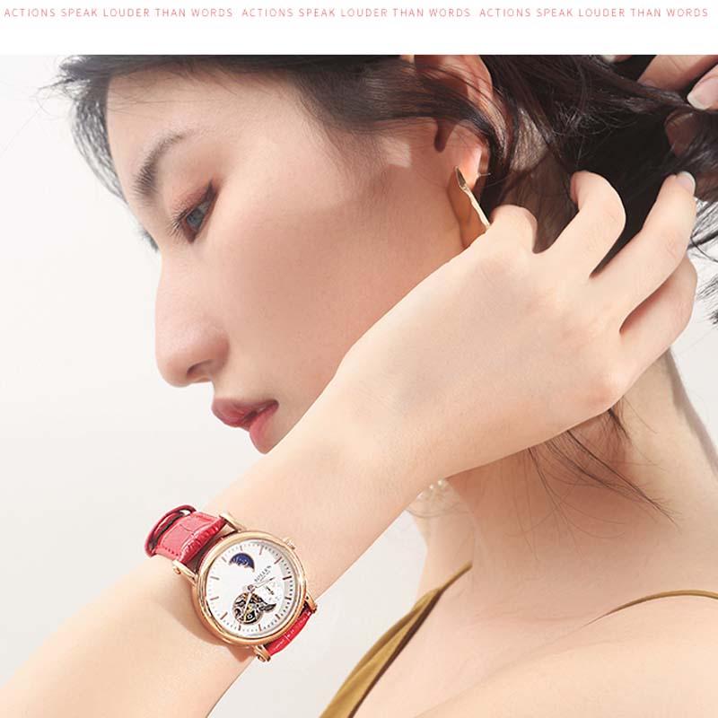 Reloj mecánico automático de marca de lujo para mujer, reloj de fase de luna, relojes de zafiro de oro rosa, Relojes de Cuero para mujer-in Relojes de mujer from Relojes de pulsera    3