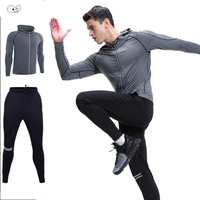 2Pcs Kits 2018 Autumn Men Sportswear Mens Clothing Suit Sports Hoodies+Pants Running Set Fitness Gym Tracksuit Hooded Sweatshirt