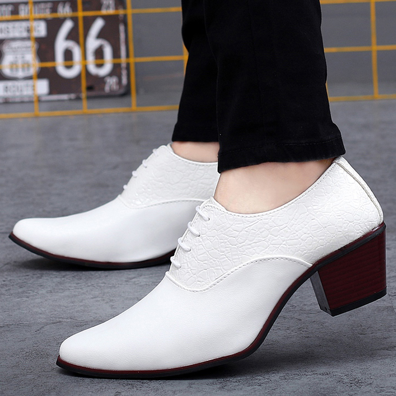 8caeee83596e Italian Fashion Embossing Leather Patchwork High Heels Dress Oxfords Mens  Party Wedding Shoes High Increasing For Tide Boys 2016-in Men s Costumes  from ...