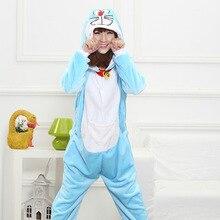 Mother Father Daughter Boy Dresses Family Matching Sleepwear Hooded Pajama Cartoon Animal Blue doraemon Cosplay Pyjama Pijamas