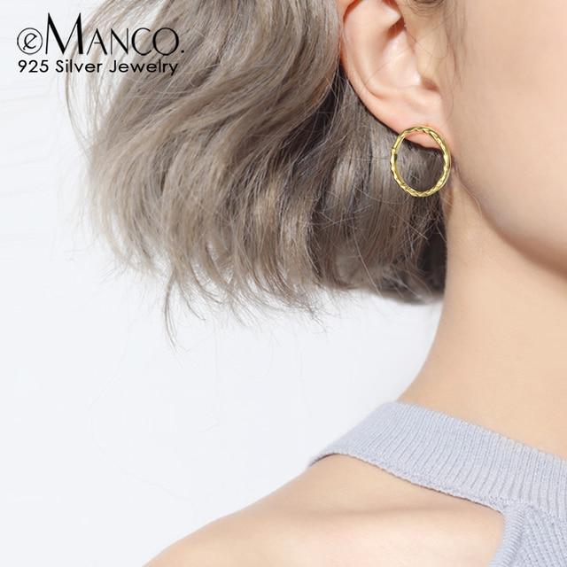 E-Manco círculo redondo pendientes de plata 925 pendientes de plata de ley para mujeres clásico minimalista joyería fina niñas
