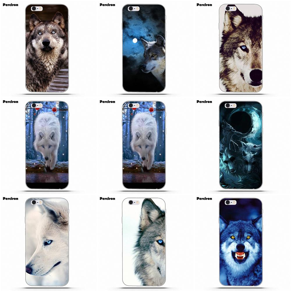 TPU Cellphone Transparent For IPhone 4 4S 5 5C SE 6 6S 7 8 Plus X Galaxy S5 S6 S7 S8 Grand Core II Prime Alpha Wolf Blue Eyes
