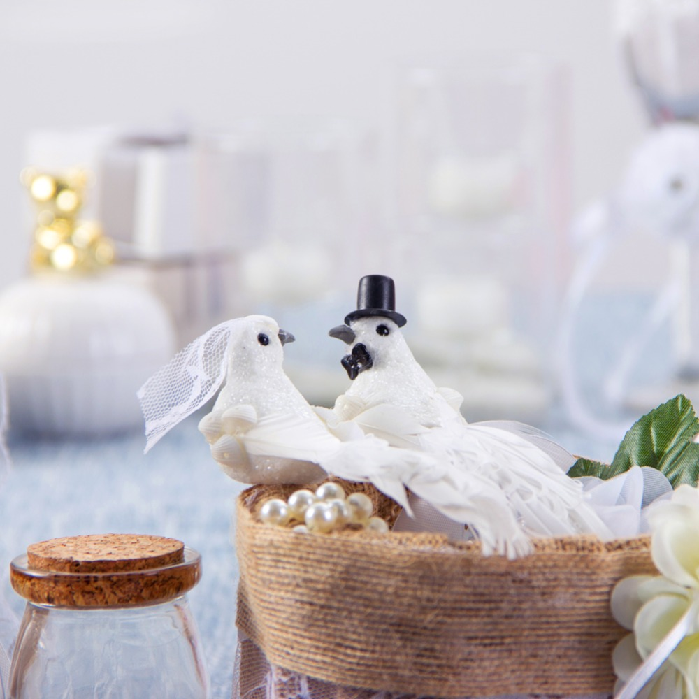 Cute Outdoor Wedding Ideas: 2pc Cute Decorative Doves Artificial Pigeon Foam Feather