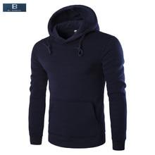[EL BARCO] herbst Warme Baumwolle Lässige Hoodie Sweatshirt Männer Solid Black Navy Blau Grau Weinrot Weiche Männliche Pullover Plus Größe 3XL