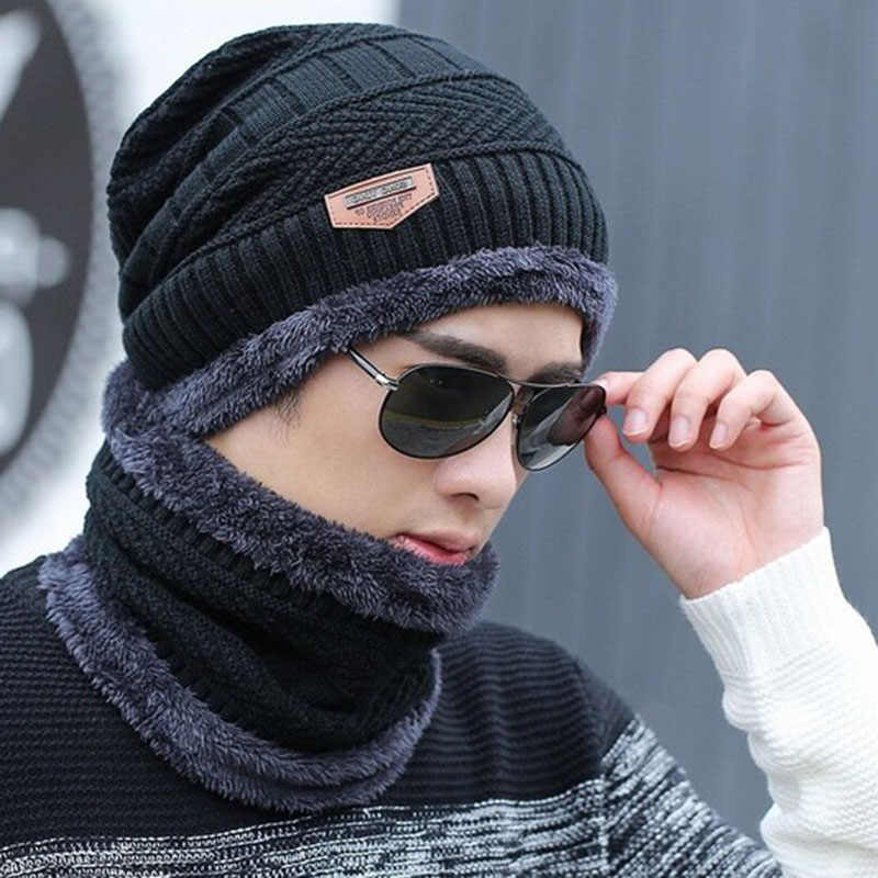 Neck warmer knit cap scarf set fur Wool Lining Thick Warm Knit beanies balaclava Winter Hat For men women Cap Skullies bonnet