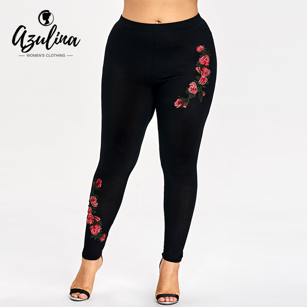 AZULINA Plus Size Embroidery Floral Leggings Women Pants Leggins Skinny Elastic Fitness Jeggings Pencil Pants Ladies Trousers