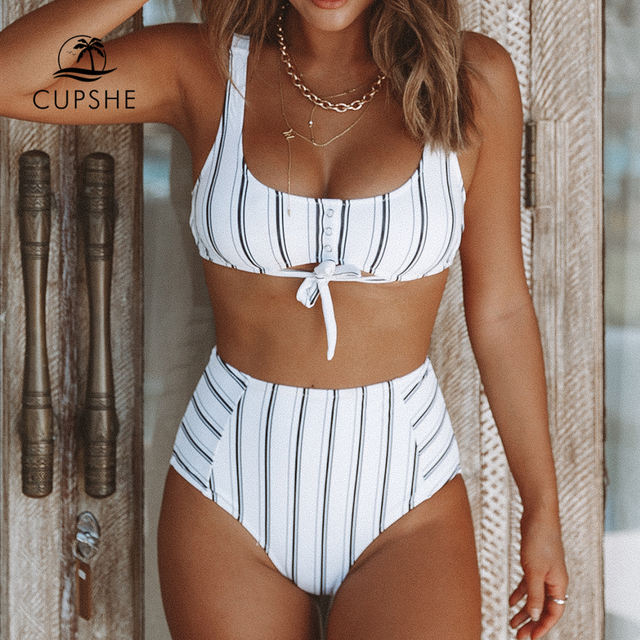 CUPSHE Boho Navy And White Vertical Stripe High Waist Bikini Sets 2020 Women Cutout Two Pieces Swimsuits