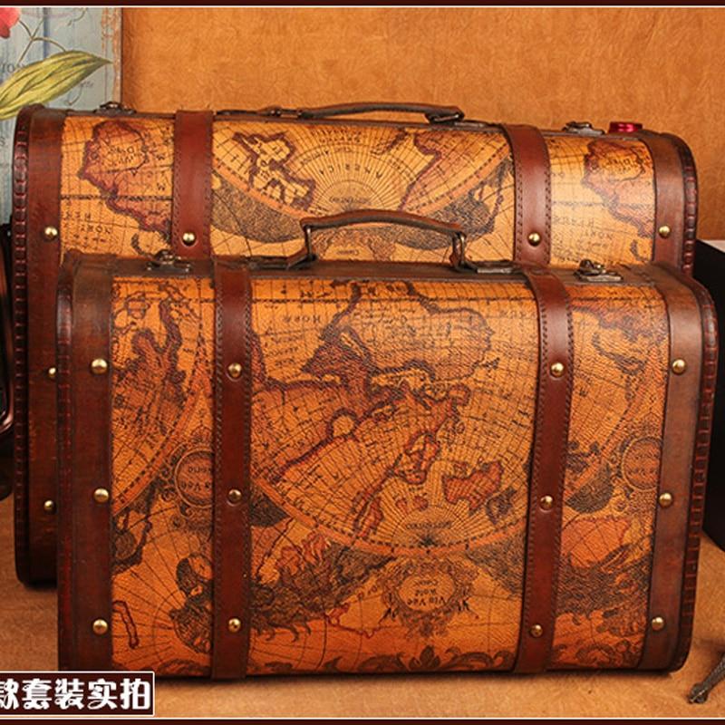 Gushifu Houten doos Europese koffer vintage doos Geschenk houten - Home opslag en organisatie - Foto 3