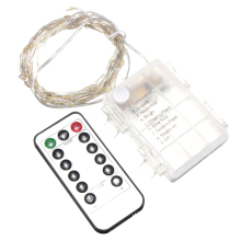 10M 100 LEDs Silver String Fairy Xmas Strip Light AA Battery + Remote Controller(White)