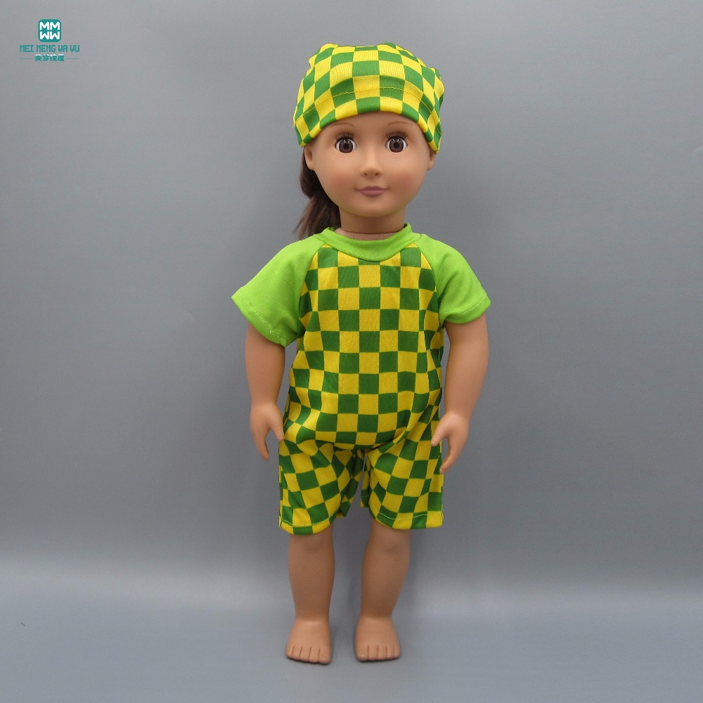 Fashion Lattice one-piece swimsuit fits 45cm American girl doll Accessories
