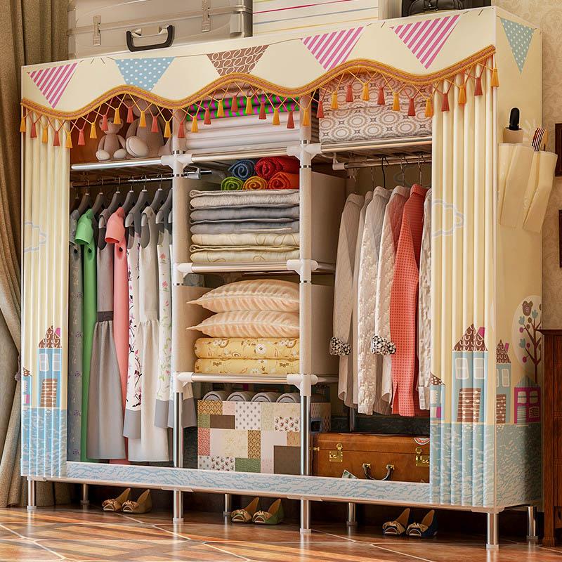 Простой шкаф большой Размеры твил персиковый; кожа, вельвет шкаф для одежды 25 мм Сталь трубы Комбинации пыле шкафа мебель для хранения