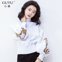 GUTU 2018 Spring Autumn Korean Fashion High Collar Long Sleeve Stitching Ruffles Personality Embroidered Shirt