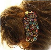 2016 Fashion New Bohemian Vintage Womens Ladies Colorful Rhinestone Peacock Hairpin Barrette Hair Clip Hair Accessories Jewelry