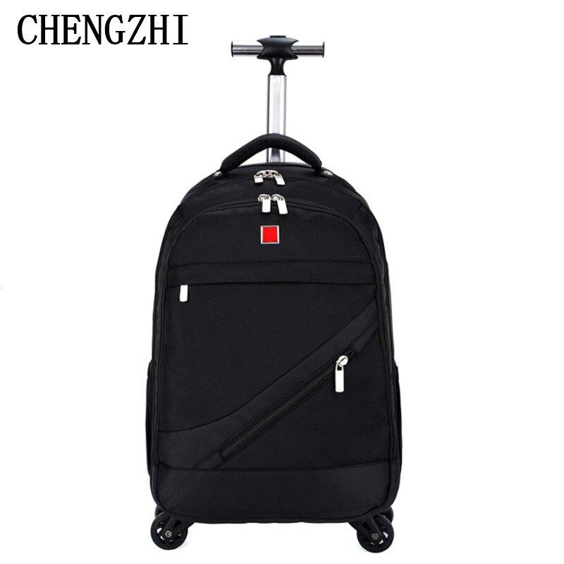 Rollgepäck Genial Chengzhi18 zoll Männer Business Oxford Reise Trolley Gepäck Multifunktionale Roll Taschen Frauen Rädern Rucksäcke Gepäck üBerlegene Materialien