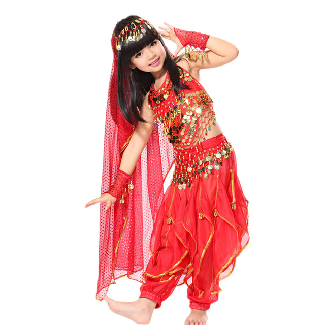 Belly Dance Children Indian Costume Set 5-piece (Top, Belt, Pants, Headpiece and Sleeves) Bollywood Dance Costumes for Girls 1