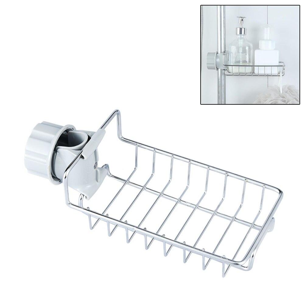Stainless Steel Faucet Hanging Sink Storage Holder For Bathroom  Kitchen Dish Cloth Drain Dry Towel Storage Rack Organizer 1