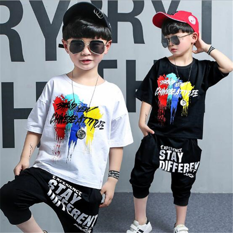 Boys Sports Suit Summer Fashional Graffiti T-shirt+Pant Children Casual Short Sleeve Summer Cotton Short Sleeve Suit 3-14T