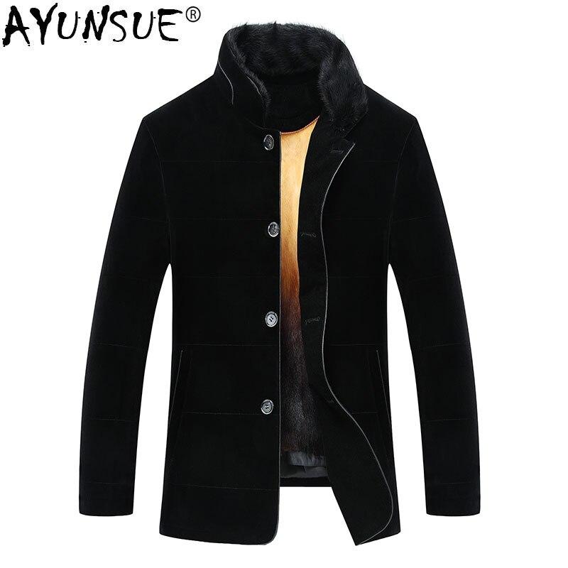AYUNSUE Real Mink Fur Coat Men Winter Jacket Men Gold Mink Fur Liner Parka Homme Warm Plus Size Mink Jackets M16D01455 KJ1545
