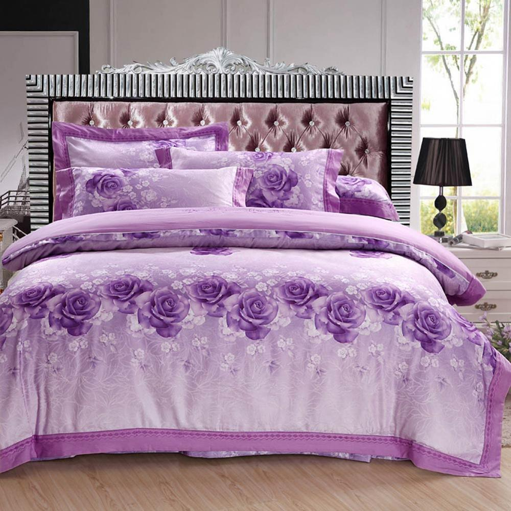 2019 Fashion Purple Flowers Jacquard Silk Cotton Bedlinens Queen King Size Duvet Cover Set Bedsheet Pillowcases2019 Fashion Purple Flowers Jacquard Silk Cotton Bedlinens Queen King Size Duvet Cover Set Bedsheet Pillowcases
