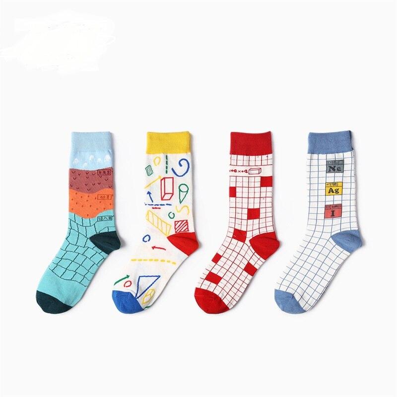 2018 New Colour  Geometry Patterns Men/women Cotton Crew Socks Casual Harajuku Designer Brand Fashion Novelty Art Couple Funny