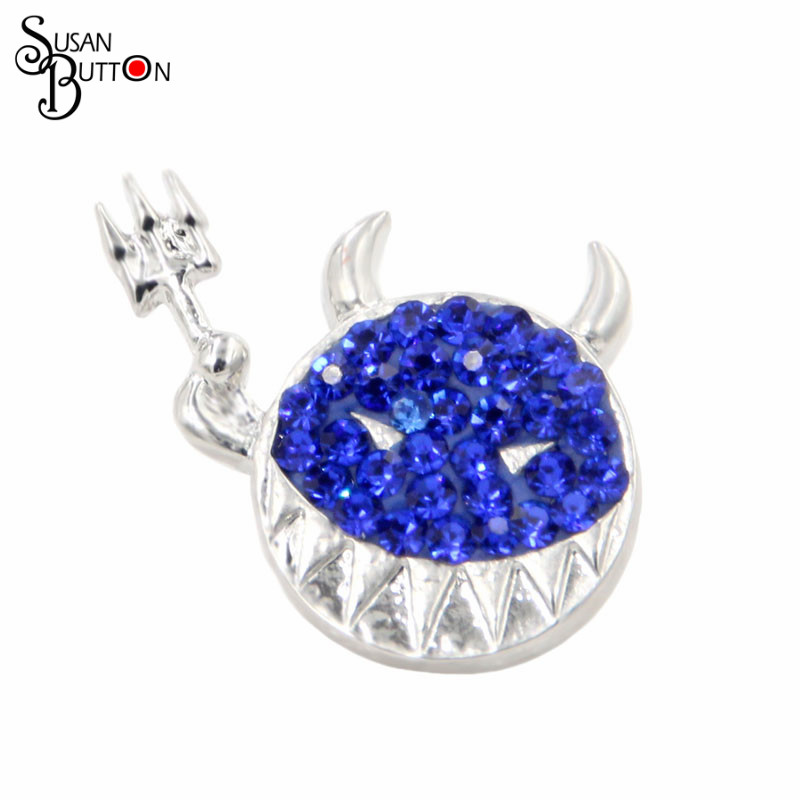 12pcs/lot Susan Button Jewerly Clay Rhinestone Crystal Snap Button Charms Emoticon Icon & Cartoon Snap Charms for 18mm Snaps