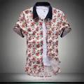 Brand New Oversized Fashion Men's Short Sleeve Turn Down Collar Casual Shirt Social Floral Print Slim Fit Shirt