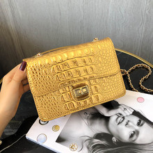Gold Alligator Female Messenger Bag Crocodile Women Shoulder Crossbody Bags bolsas feminina Famous Brands Leather Ladies Handbag 2017 alligator leather women handbag bolsas de couro fashion famous brands shoulder bag black bag ladies bolsas femininas sac