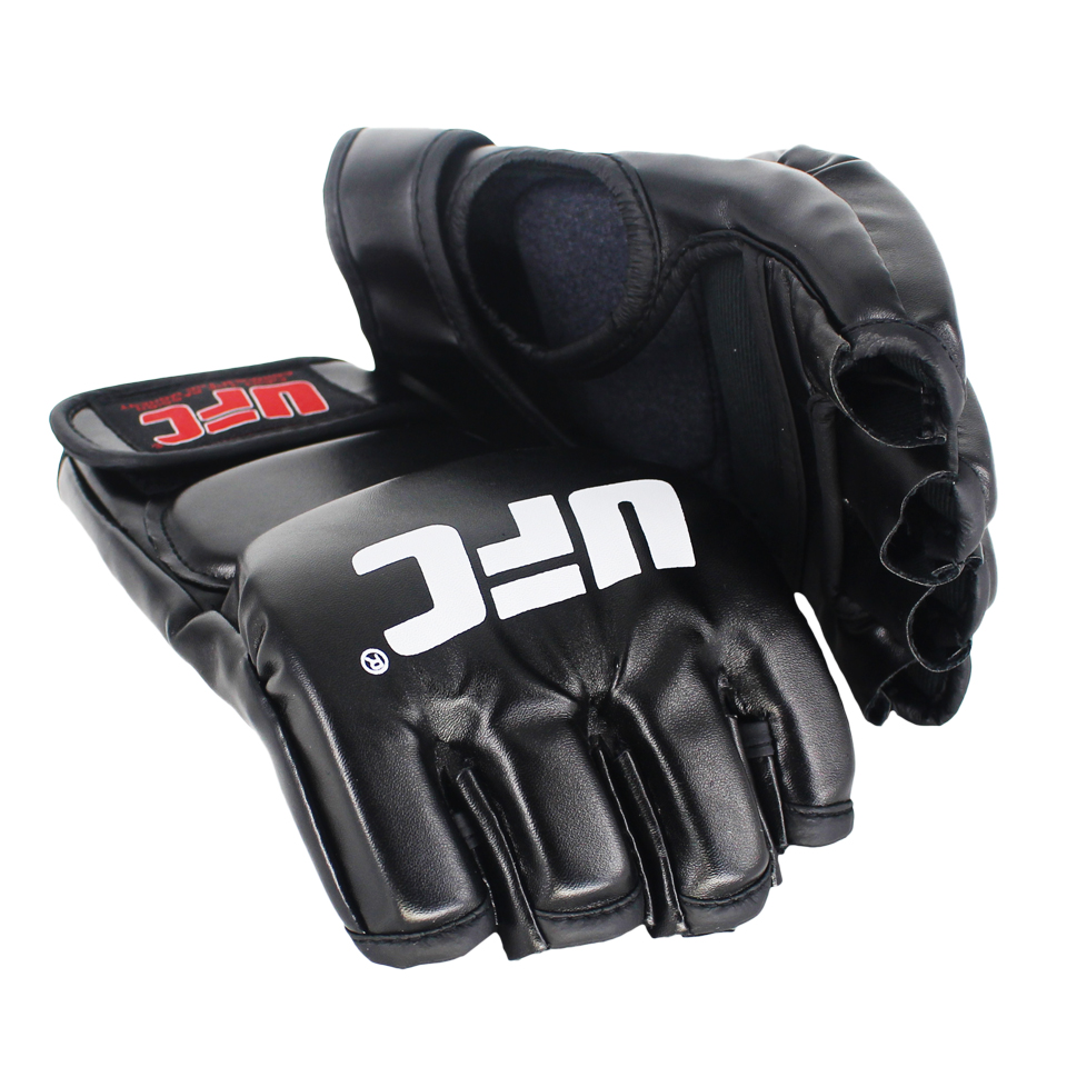 SUOTF negro lucha MMA guantes de cuero deportivo Tiger Muay tailandés lucha caja guantes mma sanda boxeo guante pads mma