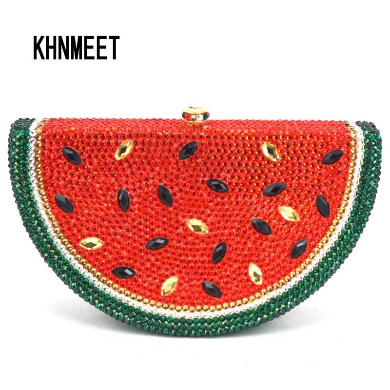 Luxury Crystal bag Watermelon Pattern Evening Bag Diamond Luxury Crystal Clutch Bag Lovely Fruit Ladies Party