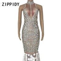 Блестящий Стразы белые цветы длинное платье Большие камни костюм ночной клуб Сценическое женское певица день рождения сексуальное платье