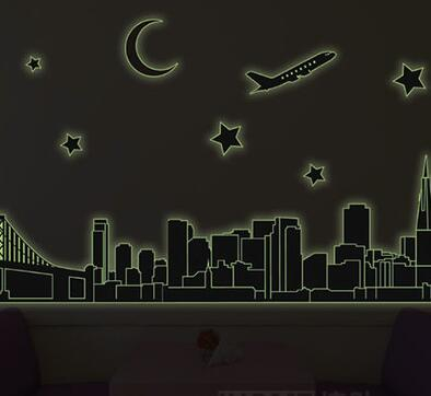 Luminous Wall Stickers Cartoon Wallpaper Home Decor City View Night Poster Kid BedRoom Window Fridge Picture Paper Removable
