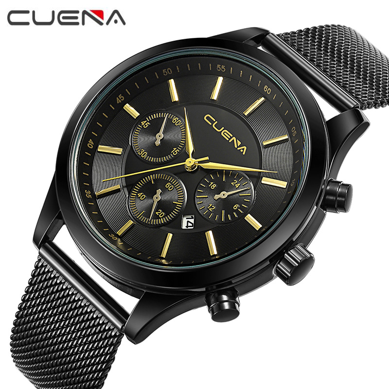 CUENA Top Men Quartz Watches Brand Fashion Luxury Steel Watch Casual Wristwatches Reloj Relogio Masculino 6618G 6 Colors kids watches children silicone wristwatches doraemon brand quartz wrist watch baby for girls boys fashion casual reloj
