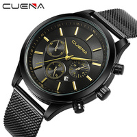 CUENA Top Men Quartz Watches Brand Fashion Luxury Steel Watch Casual Wristwatches Reloj Relogio Masculino 6618G