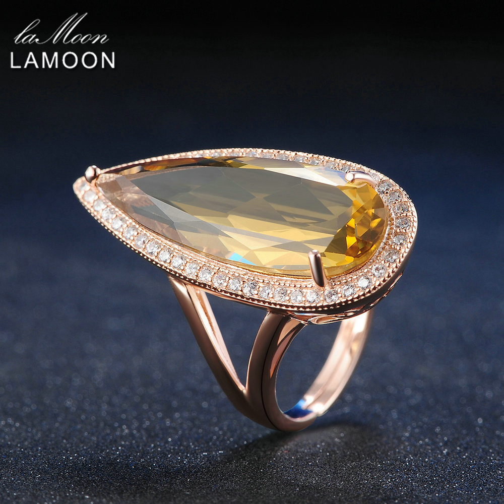 LAMOON Luxury Gemstone Natural TearDrop Citrine 925 Sterling Silver Cocktail Ring Women Jewelry Rose Gold Plated