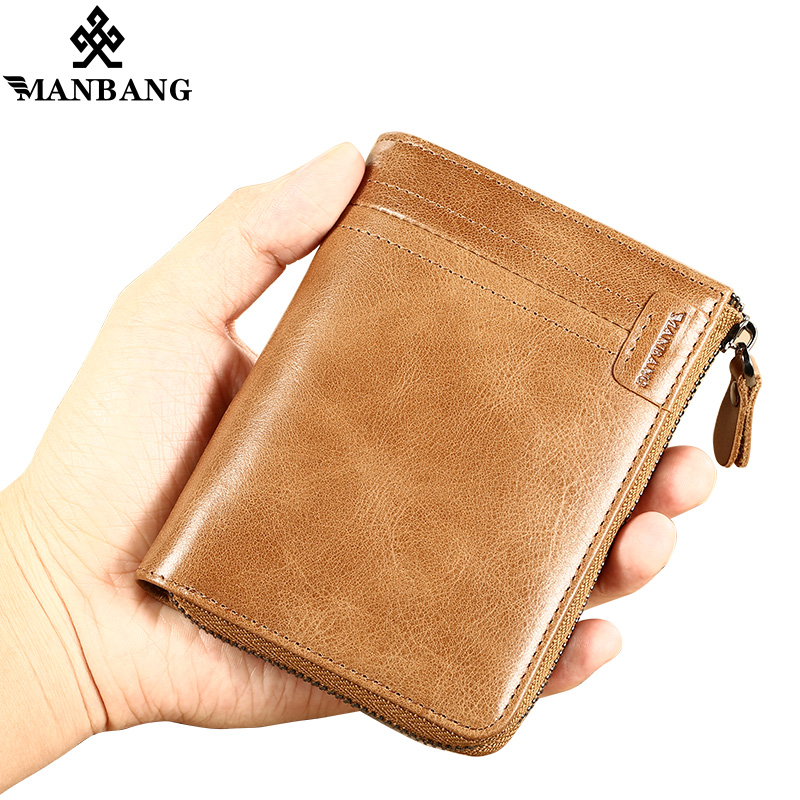купить ManBang Brand Men Wallets Vintage Crazy Horse Genuine Leather Zipper Wallet Card Holder Coin Pocket Men's Purse Male Carteira недорого