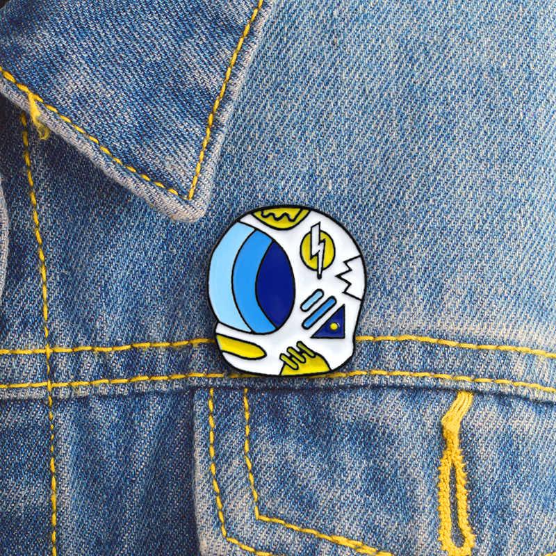 رائد الفضاء خوذة الأزرق المينا دبابيس الدنيم على ظهره شارة رائد الفضاء متعة هدية