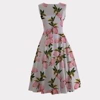 Candowlook atacado 2017 plus size de roupas vintage 50 s 60 s vestido rosa lemon mulheres verão dança do balanço pinup rockabilly dress