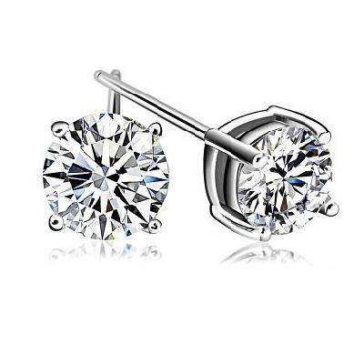 White Gold 4 Claws 925 Silver Shiny Austrian Cubic Zirconia Earrings for Woman Stud Earrings for Sensitive Ears Free Shipping