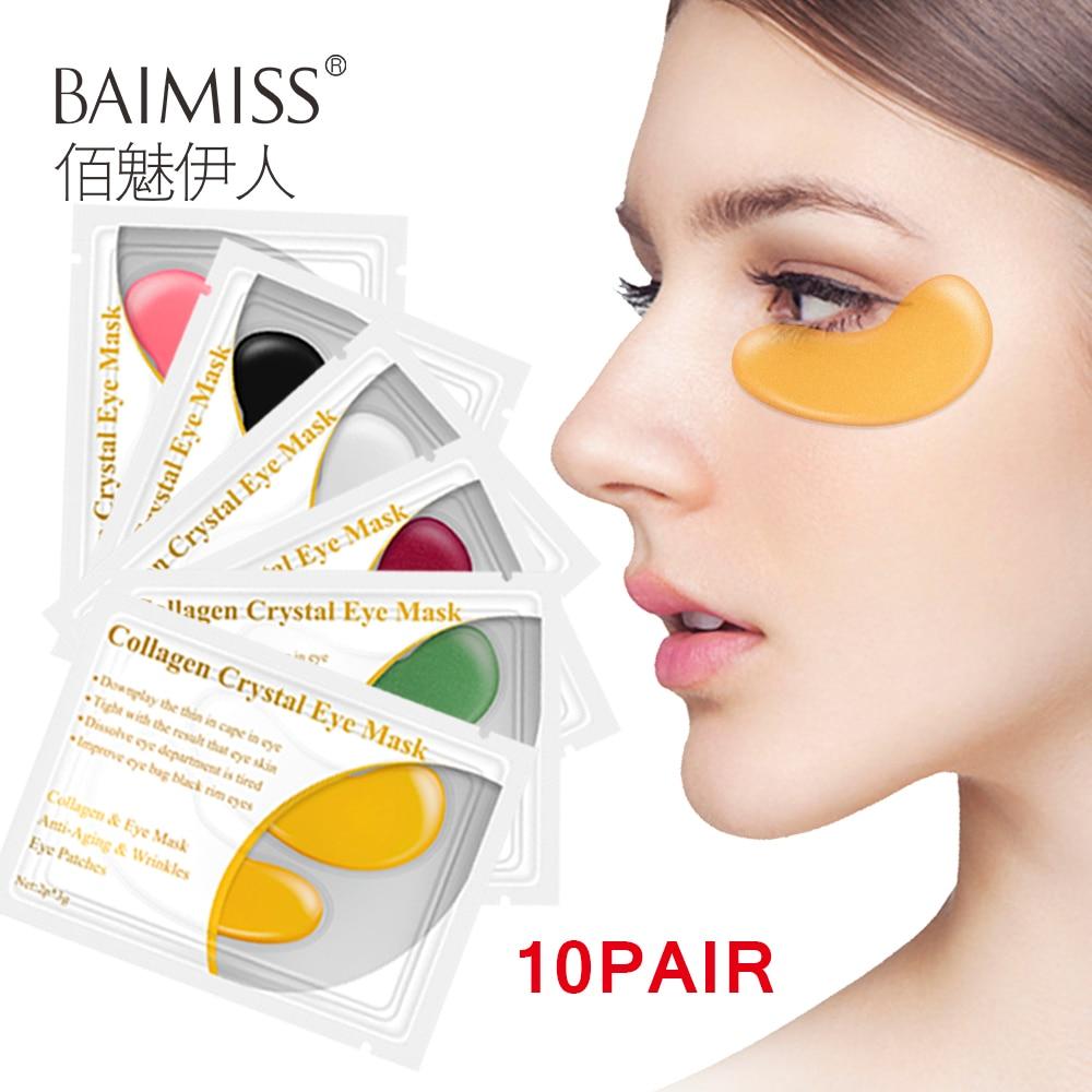 BAIMISS 20pcs=10pairs 24k Gold Anti-Aging Eye Mask Anti Aging Skin Care Collagen Eye Patches Dark Circle Remover Anti-Puffiness