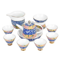 The new fight color flower process Kung Fu tea sets blue and white home ceramic tea pots gift box set