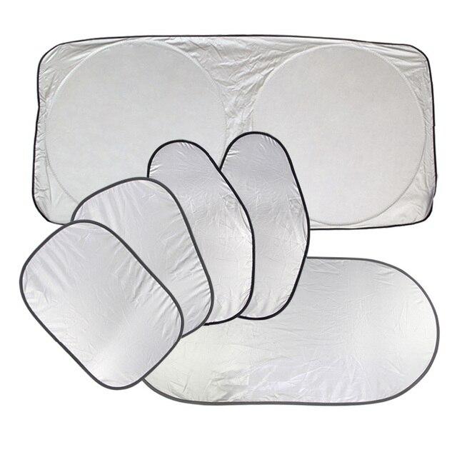 6 Pcs/Set Silver Aluminium Foil Flap Sun Shade Window Curtain Auto Styling Covers Rear Head Front Back Side Sun visors for CAR