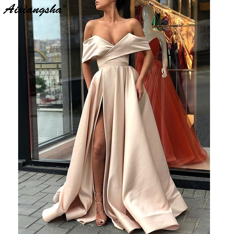 Abendkleider Pink   Evening     Dresses   2018 A-line V-neck Off The Shoulder Slit Sexy Satin Formal   Dress   Long Elegant   Evening   Gown