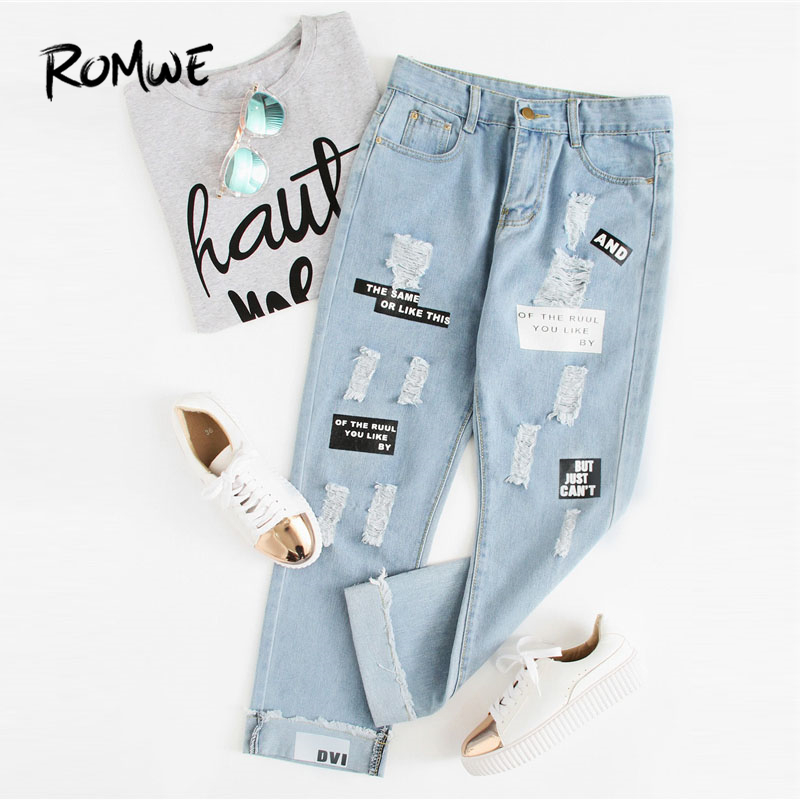 ROMWE Letter Print Ripped   Jeans   New Fashion Spring Button Fly Mid Waist Women Trousers Blue Pocket Casual   Jeans
