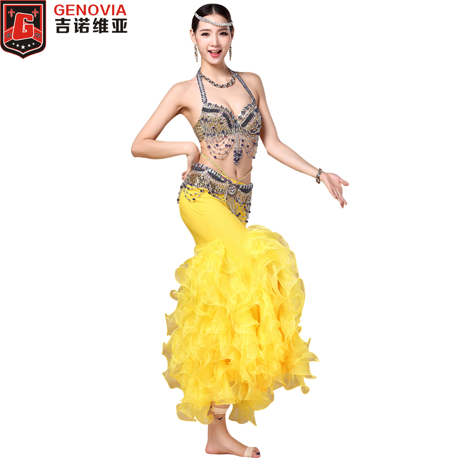 2018 Professional Belly Dance Clothing 3pcs Women Costume Beads Bra C-cup Wrapped Fishtail Skirt Belly Dance Costume Colour 4