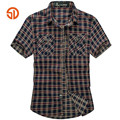 SenLin AFS JEEP 2016 Summer Men's Plaid Cotton Casual casual Short Sleeve Shirt,High Quality Motorcycle Active Summer fashion