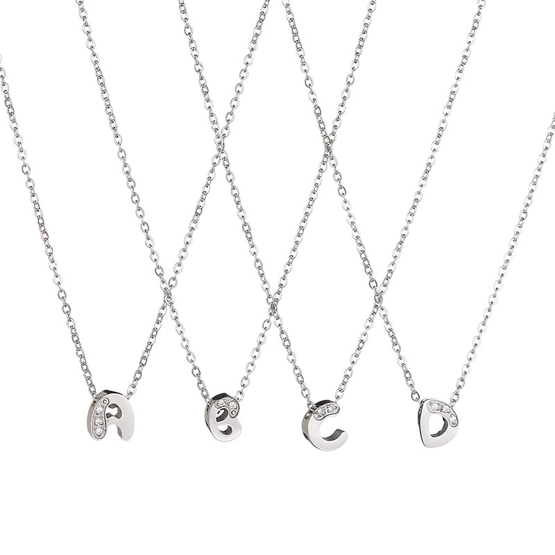 596c03c27c5 SPARK New Hot Stainless Steel Tiny Initial Charm Pendant & Necklace CZ Stone  Personalized Letters Necklace For Girl's Gift