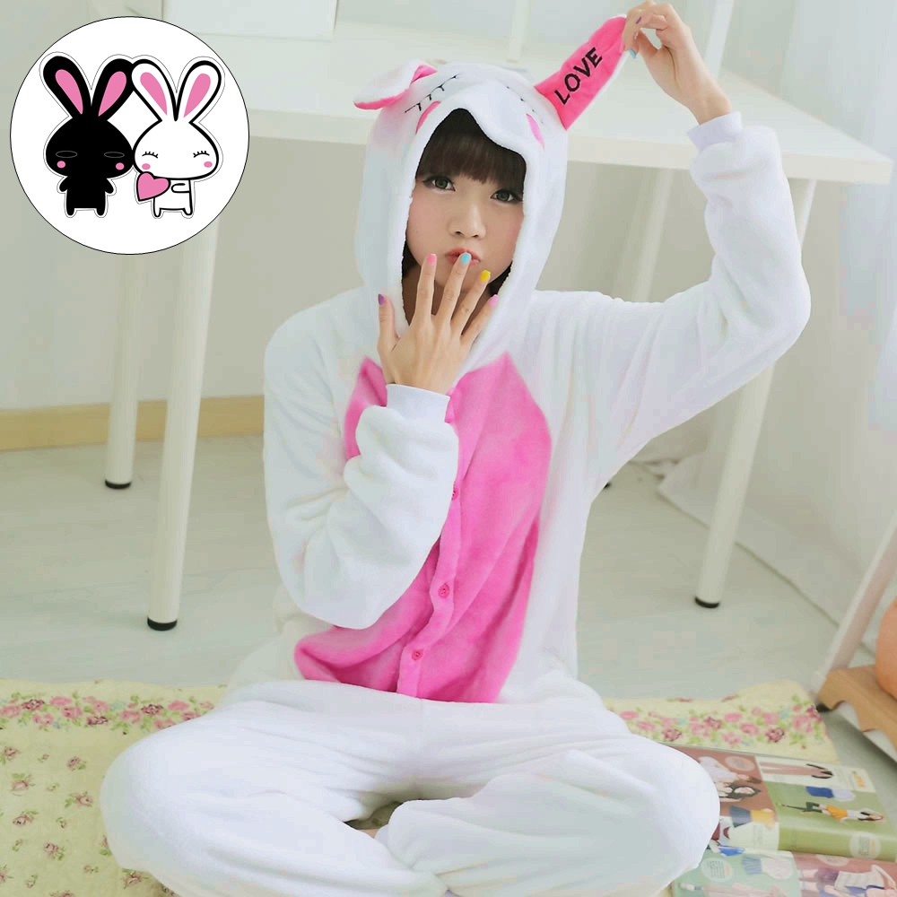 Cute Love Rabbit Cartoon Adult Unisex Autumn Winter Animal Cosplay Pajamas Sleepwear One ...
