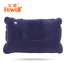 Hewolf Outdoor Camping Suede Flocking Inflatable Pillow Car Airplane Lightweight Neck Body Air Cushion Travel Sleeping Headrest